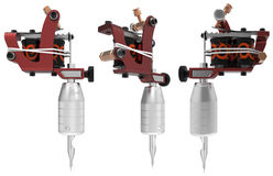 Red tattoo machine with orange ornament set Stock Photography
