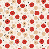 Red & Taupe Floral Seamless Pattern. Poppy red and taupe ruffled flowers on a light cream colored background Royalty Free Stock Photography