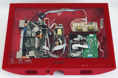 The red Tauras TV in repair Stock Photography