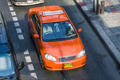 Red taxi in Bangkok Royalty Free Stock Photography