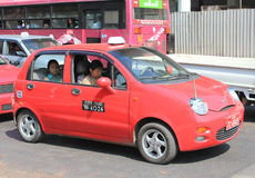 Red taxi in Yangon Royalty Free Stock Photo