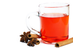 Red tea cinnamon sticks and anise Royalty Free Stock Photos