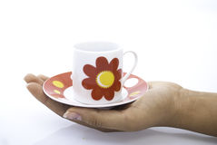 Red tea cup hold in hands Royalty Free Stock Images