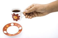 Red tea cup hold in hands Stock Images