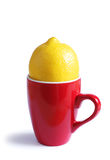 Red tea cup and lemon Stock Photo