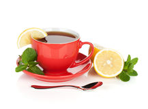 Red tea cup with lemon and mint Royalty Free Stock Photography