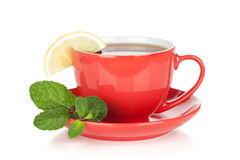 Red tea cup with lemon and mint Stock Photography