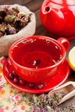 Red tea cup and teapot, healing herbs and lemon Royalty Free Stock Images