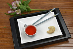 Red Tea With Fortune Cookie Royalty Free Stock Images