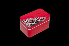 Closed red isolated tea gift tin box Royalty Free Stock Images