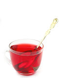 Red tea in glass cup Stock Photos