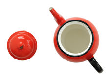 Red Tea Kettle and Lid Stock Photos