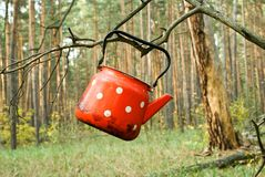 Red tea-pot Royalty Free Stock Image