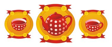Red tea service Stock Photos