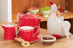 Red tea set Stock Images