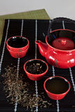 Red Teacup. Japanese-style red teacup set stock photos