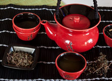 Red Teacup. Japanese-style red teacup set Royalty Free Stock Images