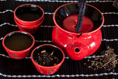 Red Teacup. Japanese-style red teacup set Stock Images