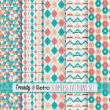 Red and teal trendy, modern and retro patterns set. Set of five red and teal trendy, modern and retro patterns royalty free illustration