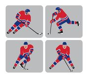 Red team Hockey players in action. Four ice hockey players icons in action with red team jersey vector illustration sports stock illustration