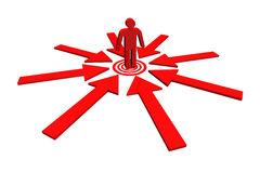Red team leader on point target around with red arrow. Royalty Free Stock Image
