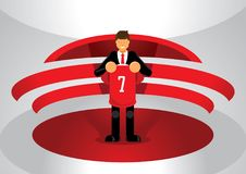 Red team sport opening new player. With number seven team shirt Royalty Free Stock Image
