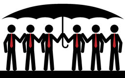 Red team. Vector / illustration. Six men with red tie are sitting under umbrella Stock Photo