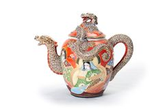 Red teapot. royalty free stock photo