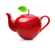 Red teapot from apple fruit Royalty Free Stock Photos