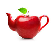 Red teapot from apple fruit Royalty Free Stock Images