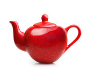 Red teapot from apple fruit Stock Photo