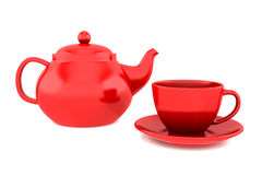 Red teapot and cup isolated on white Royalty Free Stock Photos