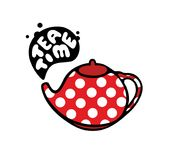 Red teapot with dots pattern. Royalty Free Stock Photos