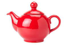 Red Teapot isolated. On white Stock Photos