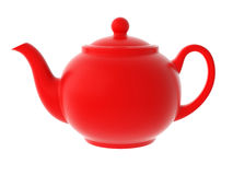 Red teapot isolated Stock Images