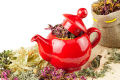 Red teapot, mortar and pestle Royalty Free Stock Image