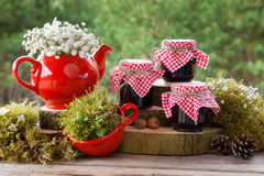 Red teapot, tea cup and jars of  healthy jam. Royalty Free Stock Photography