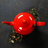 Red Teapot Stock Photo