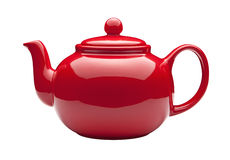 Red Teapot With Clipping Path Stock Image