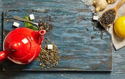 Red teapot  wooden background Stock Photography