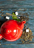 Red teapot  wooden background Stock Image
