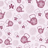 Red Teapots Seamless Pattern Design vector illustration