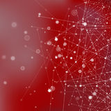 Red Technology Background with Particles. Red Technology Background with Particle, Molecule Structure. Genetic and Chemical Compounds. Communication Concept Stock Photography