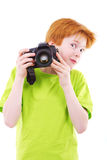 Red teen photographes Stock Photo