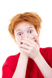 Red teen was frightened Royalty Free Stock Image