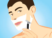 Red TeethHealthy Men Shaving. Illustration of healthy men short hair in shaving action Stock Photos