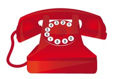 Red telephone. Red old telephone with numbers over white background. vector Stock Images