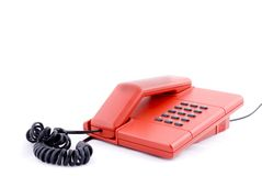 Red telephone. A red telephone for alarm Stock Photos