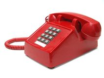 Red telephone. Red phone with a white background Stock Photography