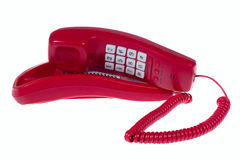 Red telephone. Photo of the old red telephone isolated on white stock photography